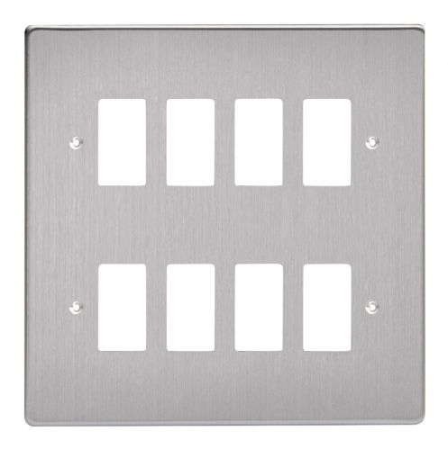 Varilight XDSPG8 PowerGrid Brushed Steel 8-Gang Grid Plate (Double Twin Plate)